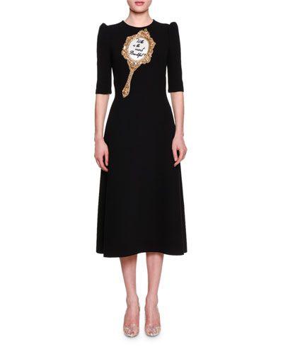 37376e1ffcc2 DOLCE   GABBANA Most Beautiful Half-Sleeve Midi Dress, Black.  dolcegabbana   cloth