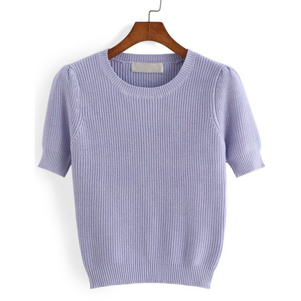 Short Sleeve Knit Purple Sweater ($15) ❤ liked on Polyvore | RiRi ...