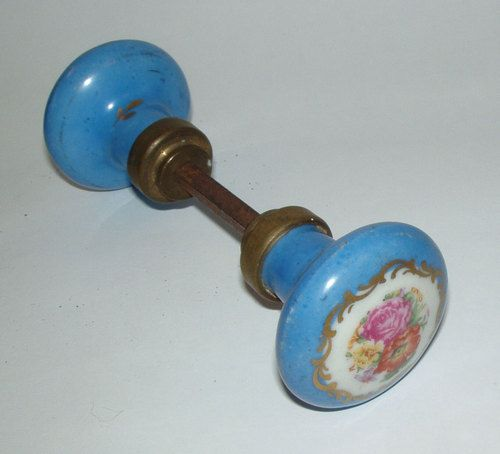 Antique Vintage Porcelain Painted Flowers Door Knob Set 1920s | eBay ...
