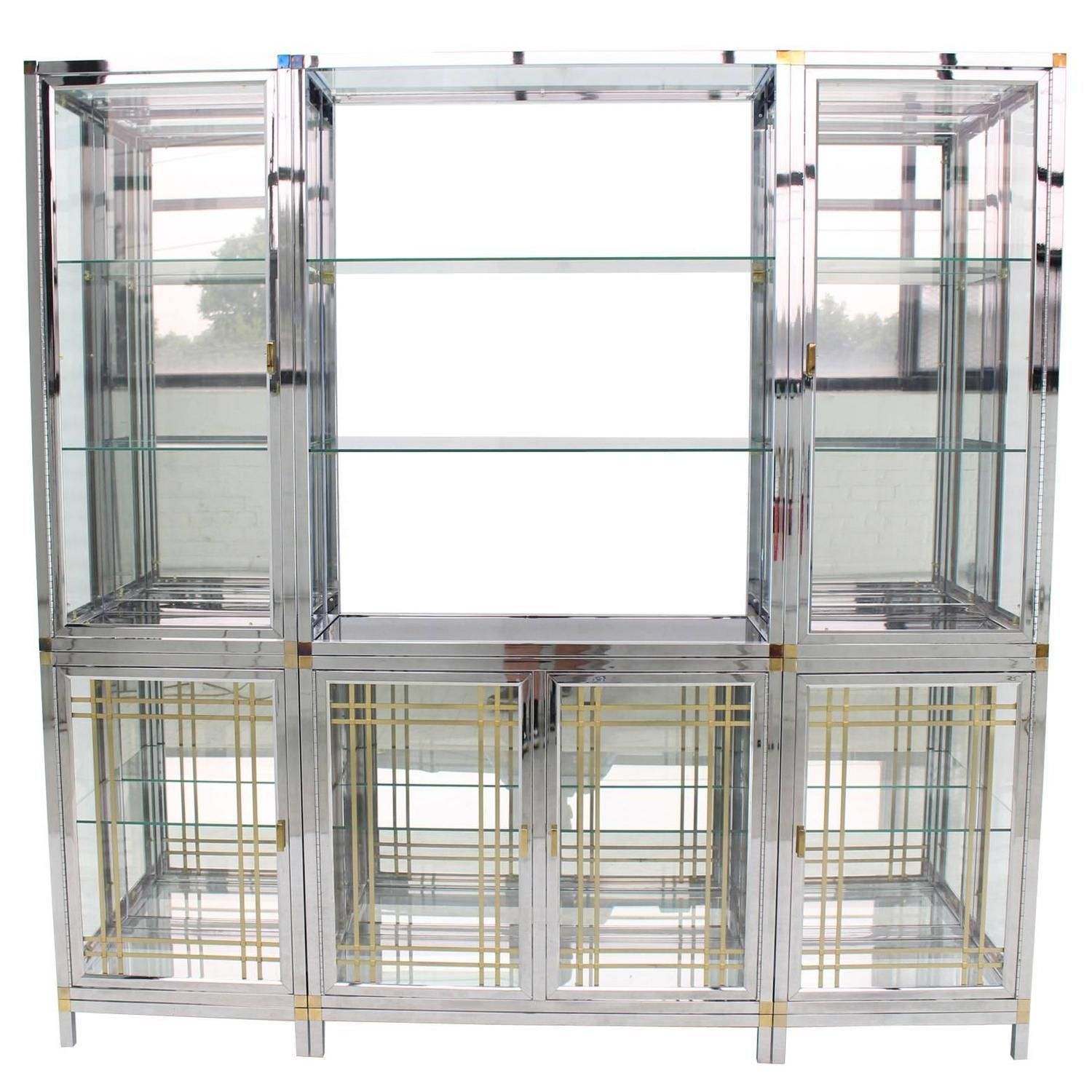 Spectacular Chrome Brass Glass Vitrine Cabinet Showcase Chrome