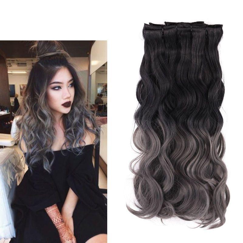 Natural black to dark grey 8pcs ombre 2 tone clip in cosplay hair natural black to dark grey 8pcs ombre 2 tone clip in cosplay hair extensions 20 pmusecretfo Choice Image