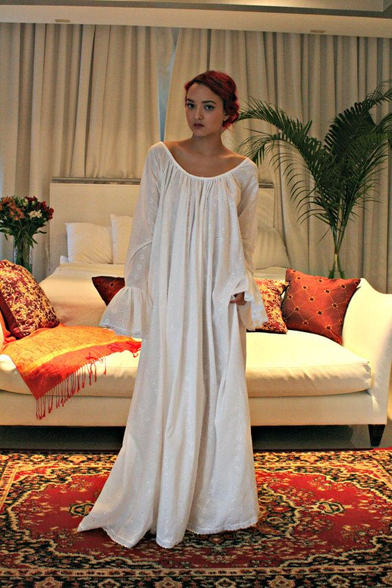 100% Cotton Embroidered White Nightgown Long Sleeve Jane Austen Full ...