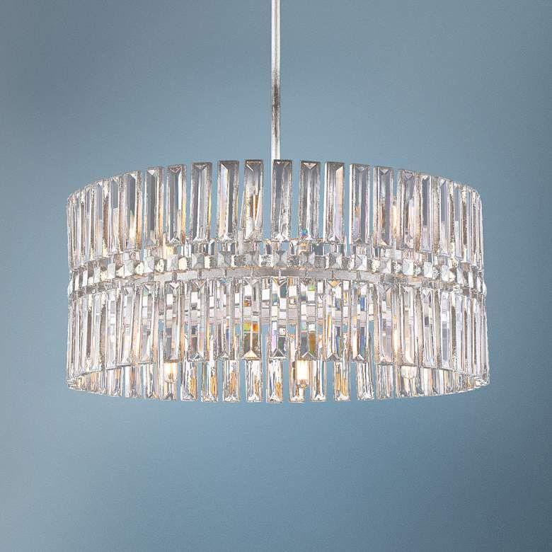 Belle Aurore 26 1 4 W Silver Leaf Crystal Drum Pendant Light 77m73 Lamps Plus Drum Pendant Lighting Drum Pendant Pendant Light