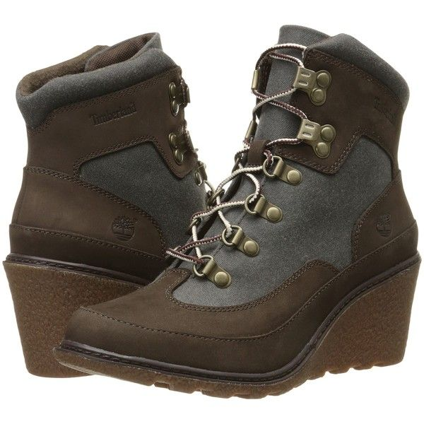 Womens Boots Timberland Amston Hiker Dark Brown Nubuck with Black Waxed Canvas