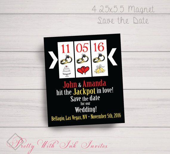Save The Dates,Birthday Or Bachelor/ette Party Invitations: Vegas,Jackpot,Casino Party, Black