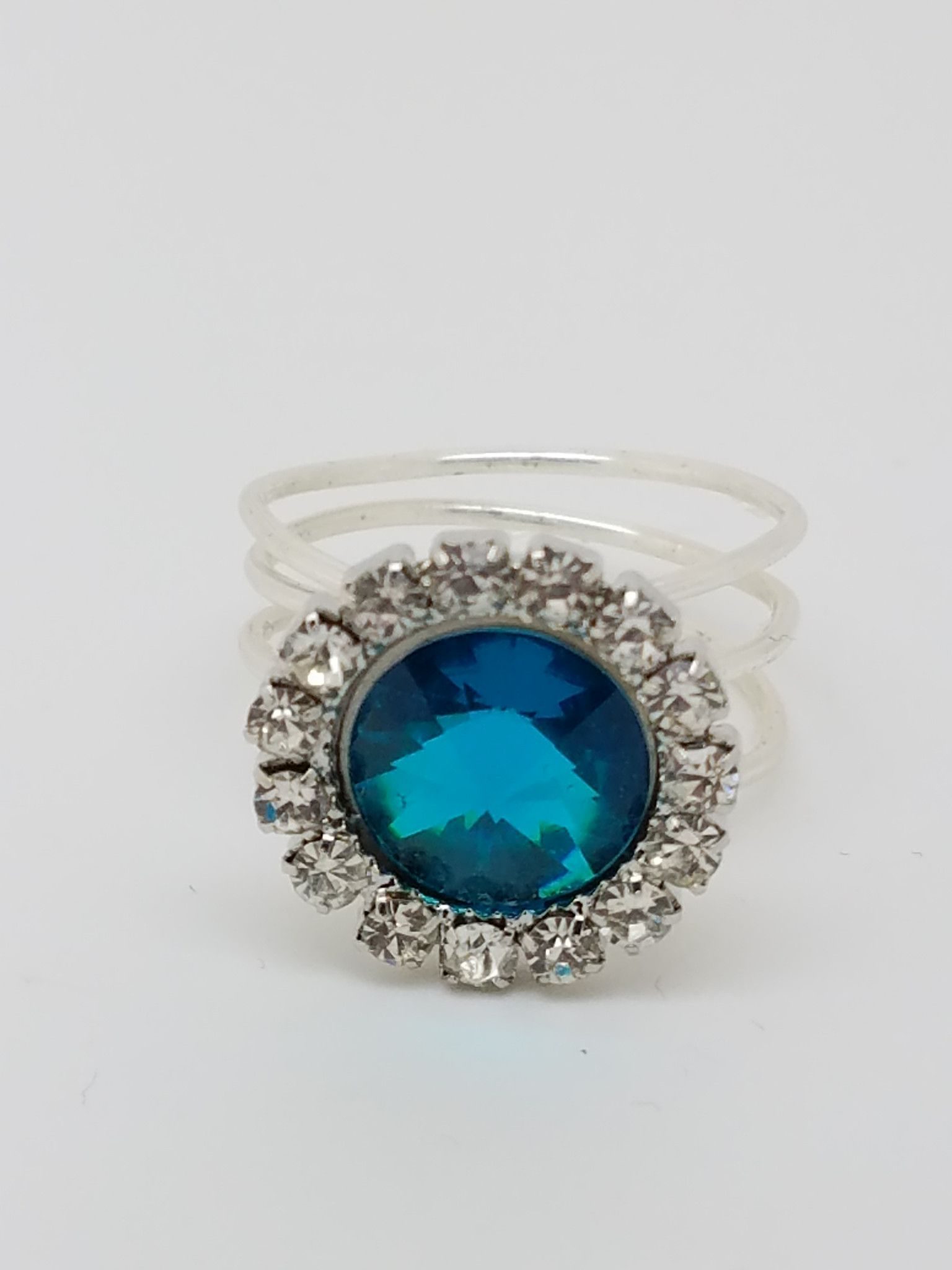 Blue Crystal Ring Silver Blue Button Crystal Ring