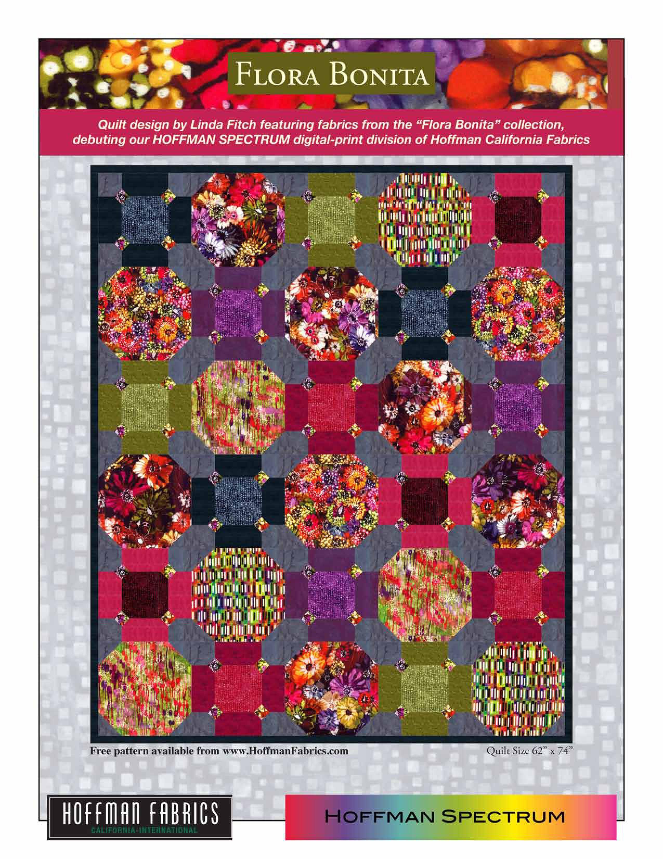 Flora Bonita by Hoffman Fabrics. FREE quilt pattern available at ... : hoffman free quilt patterns - Adamdwight.com