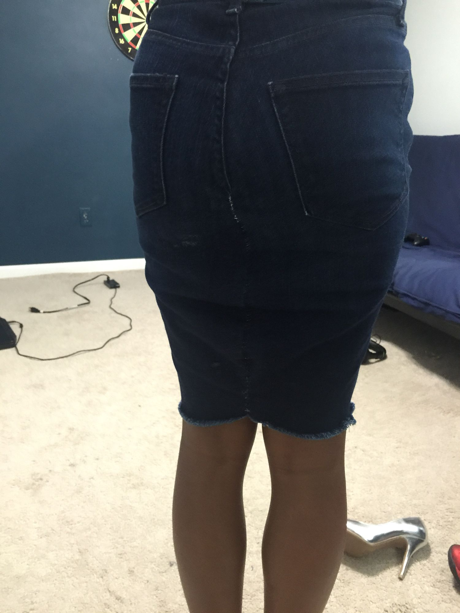 High waisted skinny jeans made into pencil skirt
