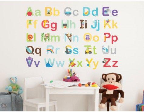 Vinyl Decorative Wall Kids Room Jungle Zoo Stickers English Alphabet kindergarte