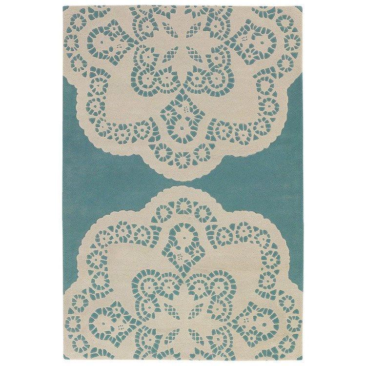thomas paul doily aqua-cream wool rug- i want you i need you oh baby oh baby