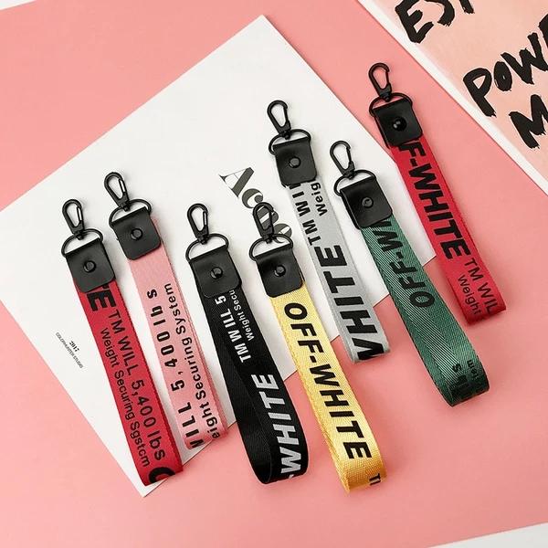Off White Ribbon Keychain For Wallet Phone Case Key Chain llavero Key Rings