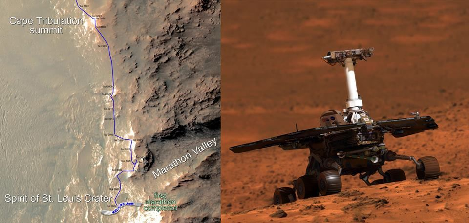 The Mars rover Opportunity has just completed the first extraterrestrial marathon. It took 11 years and 2 months!