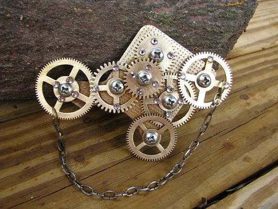 steampunk brooch with grandfather