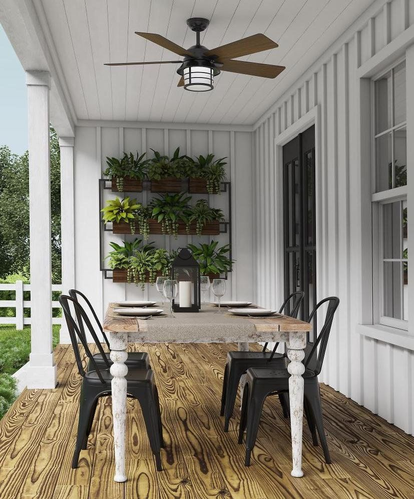 Update Your Patio With An Outdoor Ceiling Fan And Lots Of Greenery