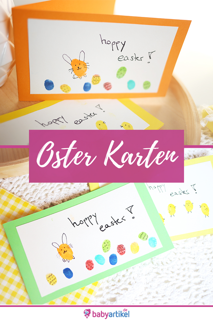 DIY: Osterkarten mit Baby und Kind basteln. Fingerprint Hasen und Ostereier. Ostern Basteln Osterkarte DIY #kastanienbastelnkinder