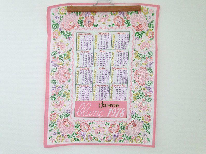 Cotton 1978 Calendar Tea Towel Tea Towels Towel Etsy