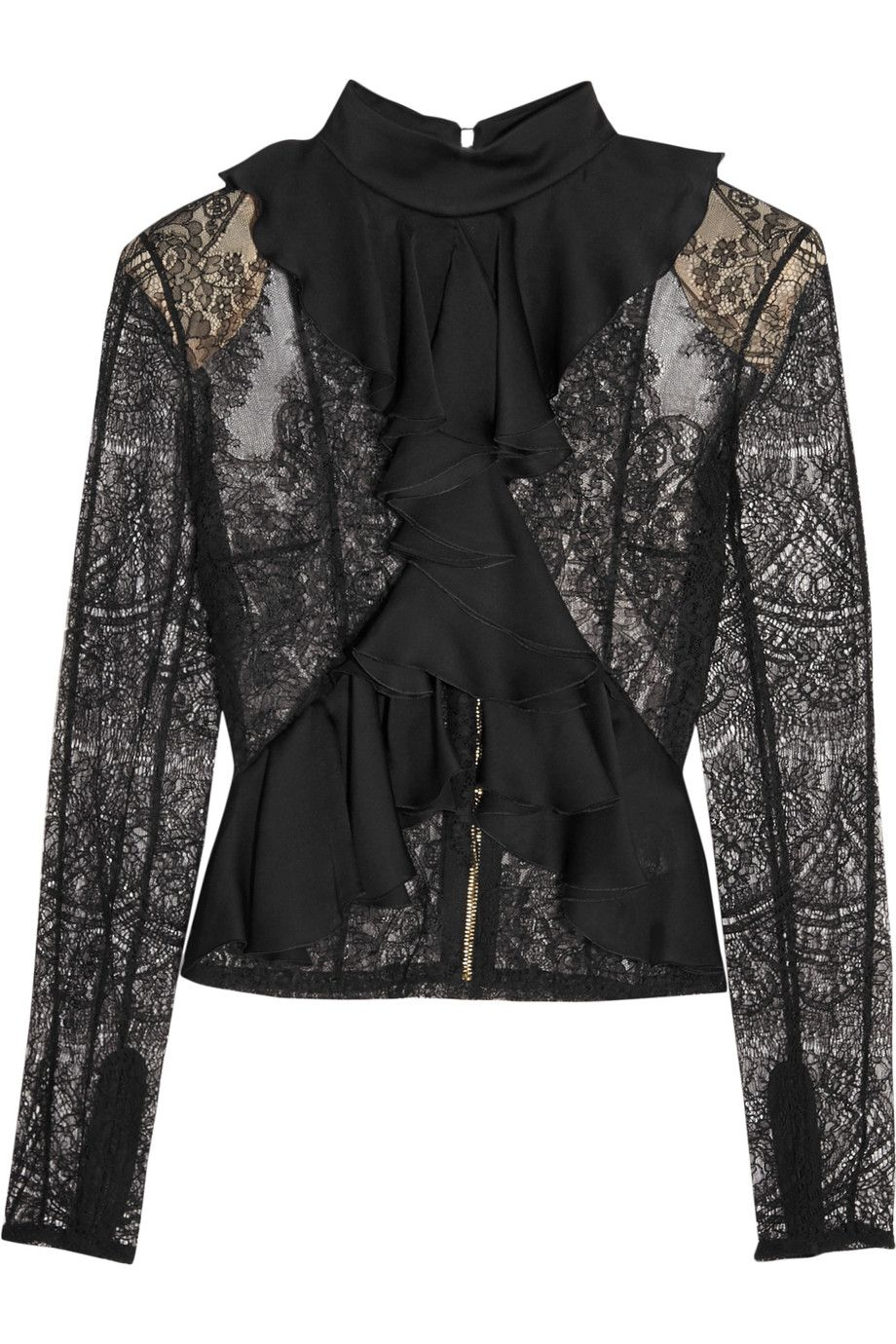 Balmain - Ruffled satin and lace top