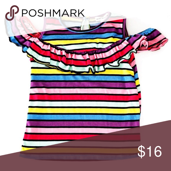 37b675b38a6 NWT Girl's Colorful Striped Rainbow Ruffle T-shirt 🌈 Brand New with ...