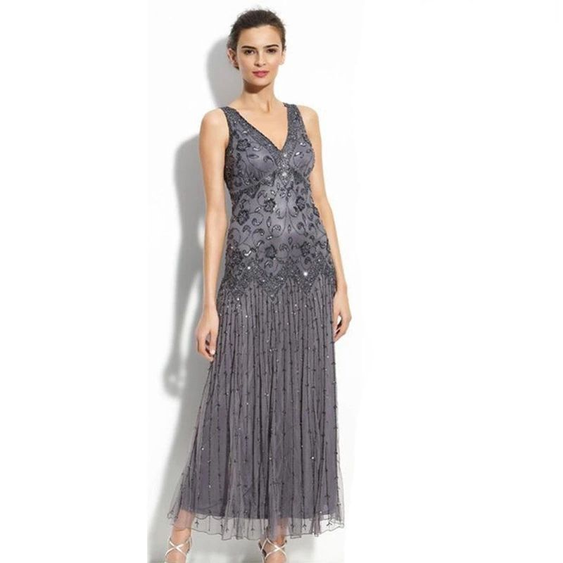 chiffon tea length mother of the bride dresses with sequins applique