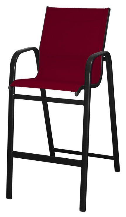 red high back sling bar stool 30 in