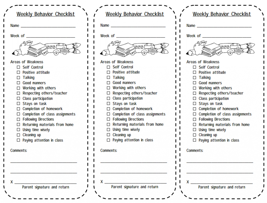 Classroom Design Checklist ~ Print this weekly behavior checklist for students balance