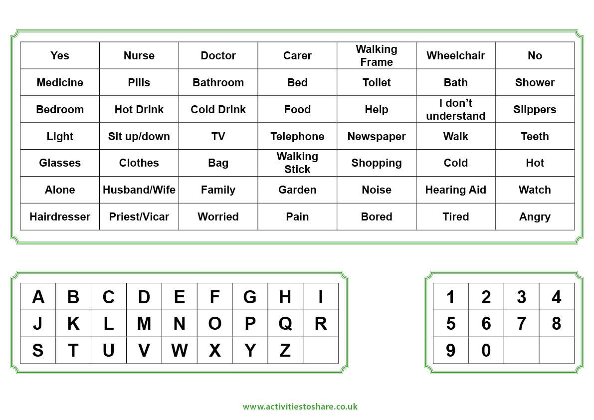 Word Board For Hospital Stays With Images