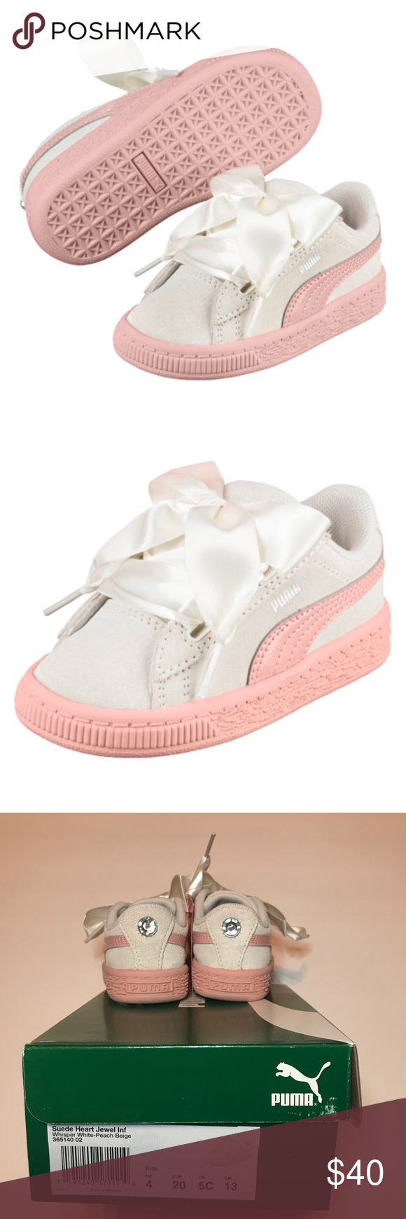 Puma Suede Heart Jewel Infant Sneakers Brand new inbox Puma