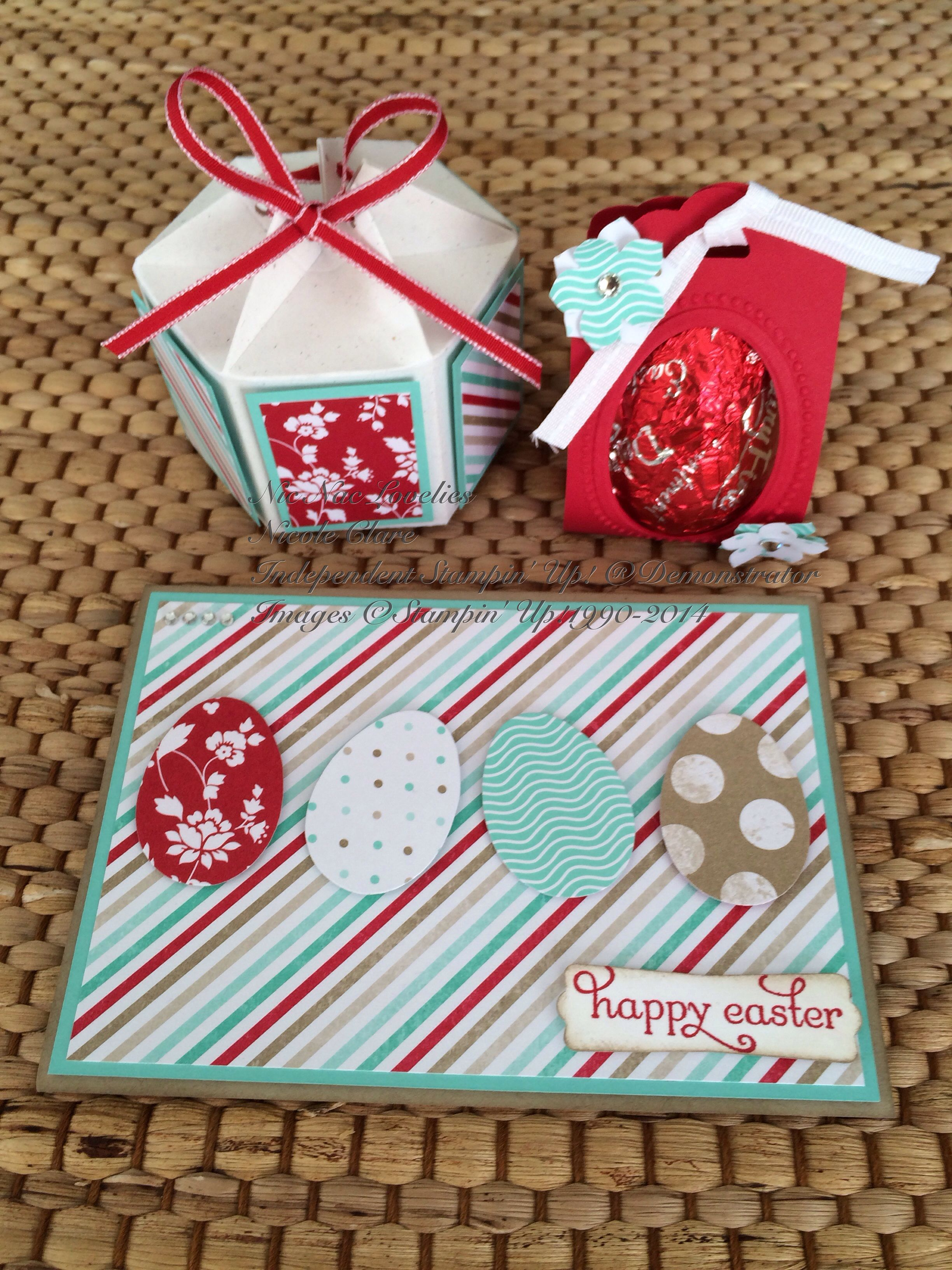 Easter Class selection using:Stampin' Up! Colours Real Red, Crumb Cake, Whisper White, Coastal Cabana with Fresh Prints Designer Series Parer Stack