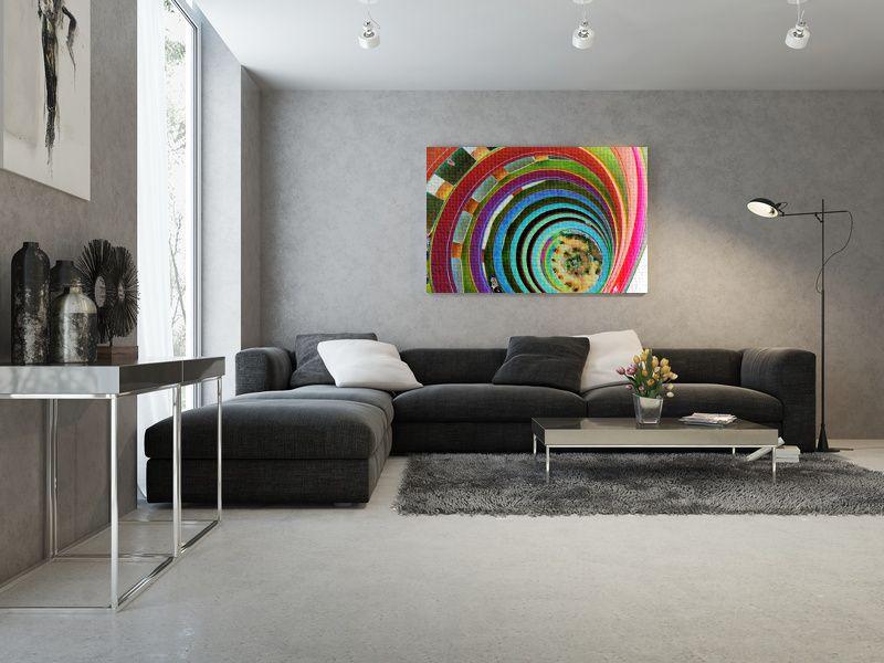 Interior #moderno en tonos grises con un toque de color que le ...