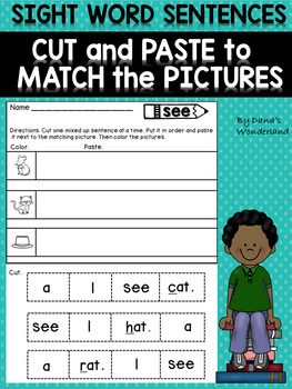 Sight Word Sentences Cut and Paste to Match the Pictures | Word ...
