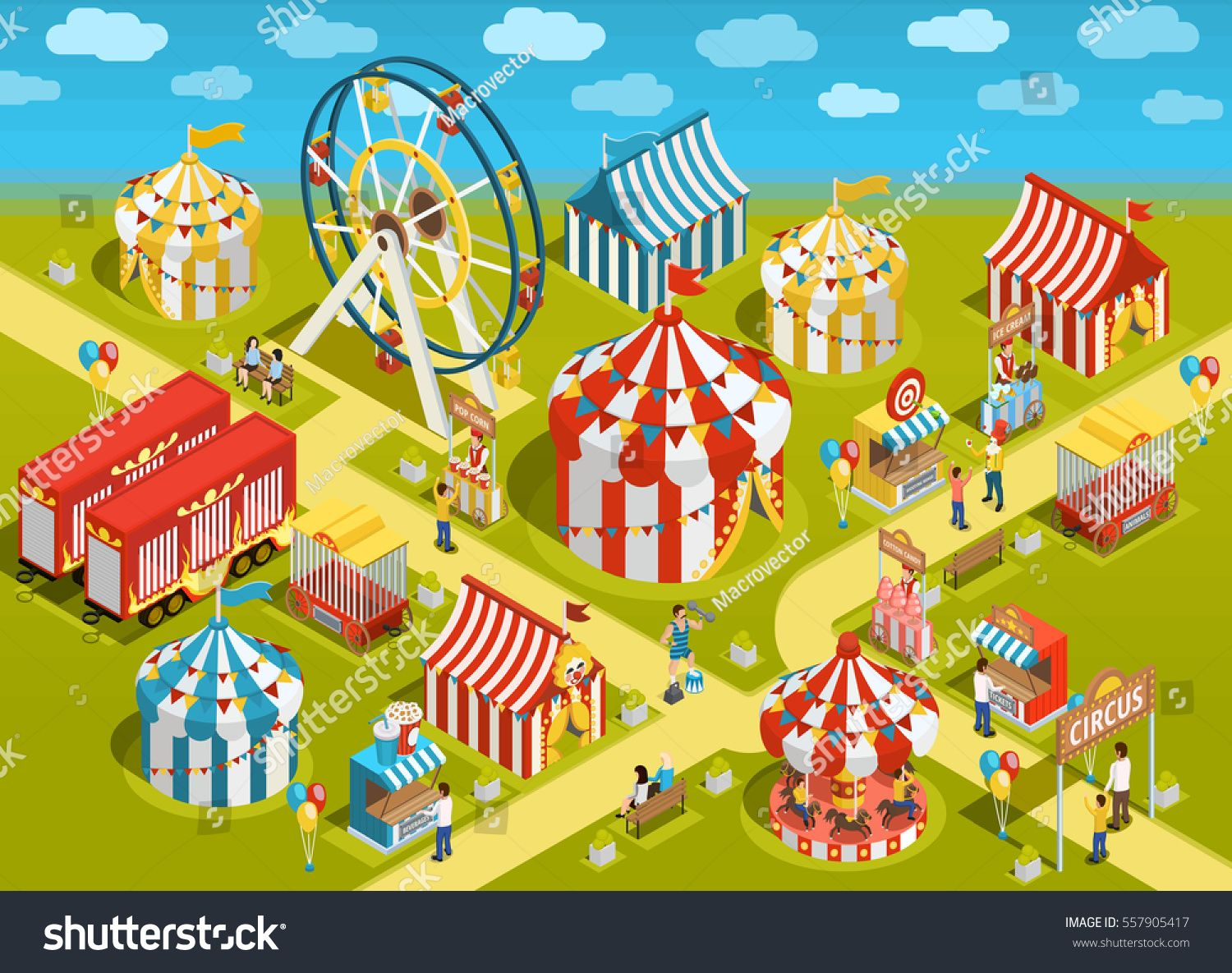 Amusement Park Travel Circus Attractions Colorful Isometric Poster