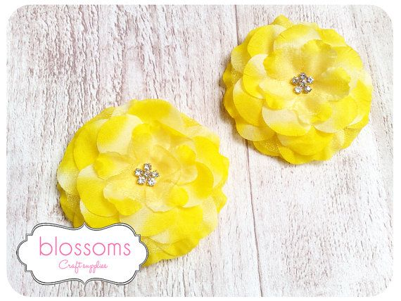 Yellow silk flower   rhinestone center  3 silk by Blossomshandmade