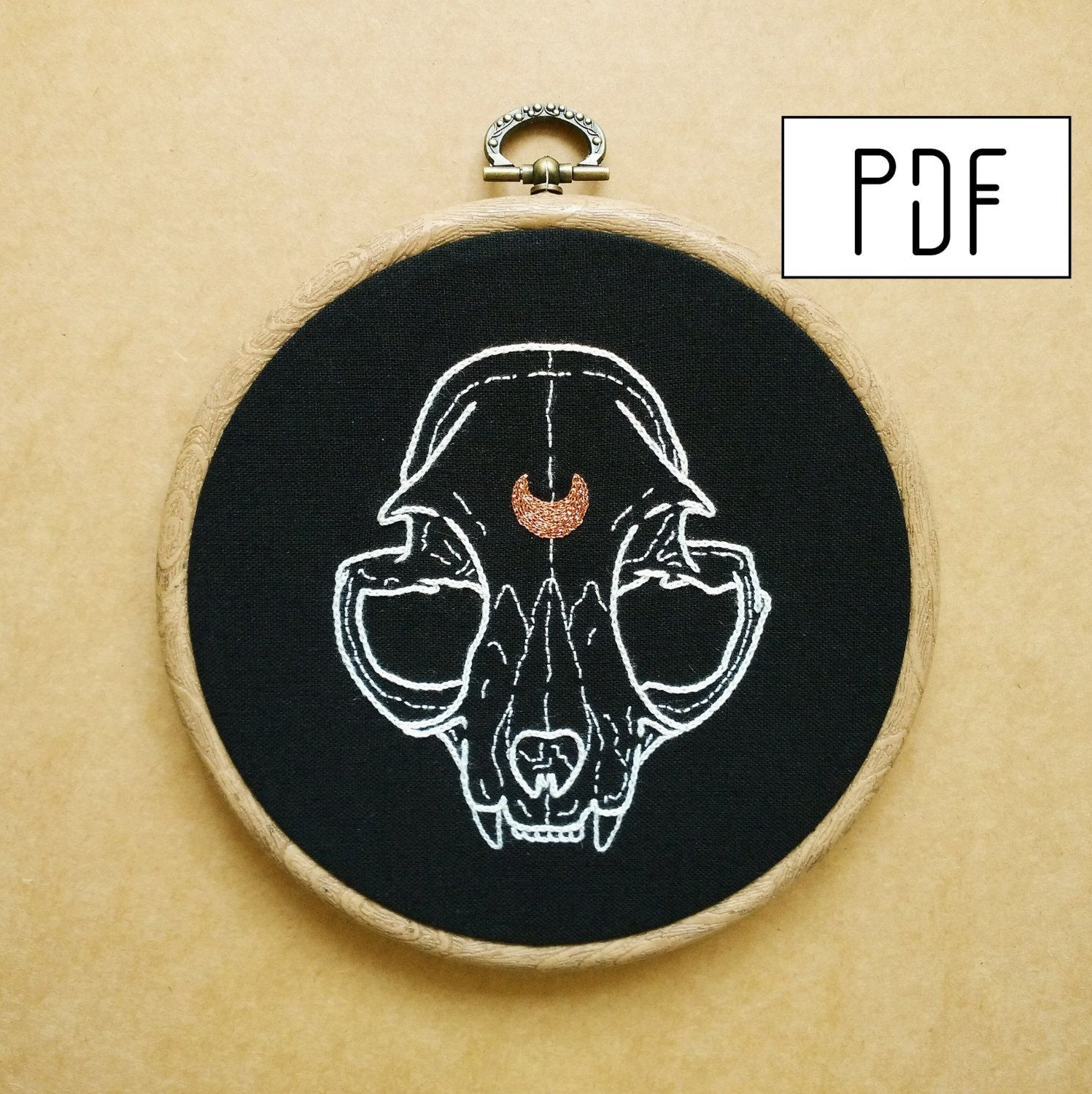 Cat Skull with Reversed Crescent Moon detail Hand Embroidery Pattern (PDF modern embroidery pattern) by ALIFERA on Etsy