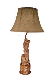 """Carved Mermaid 29"""" H Table Lamp with Shade $118.66 www.mermaidhomedecor.com - Mermaid Lamps"""
