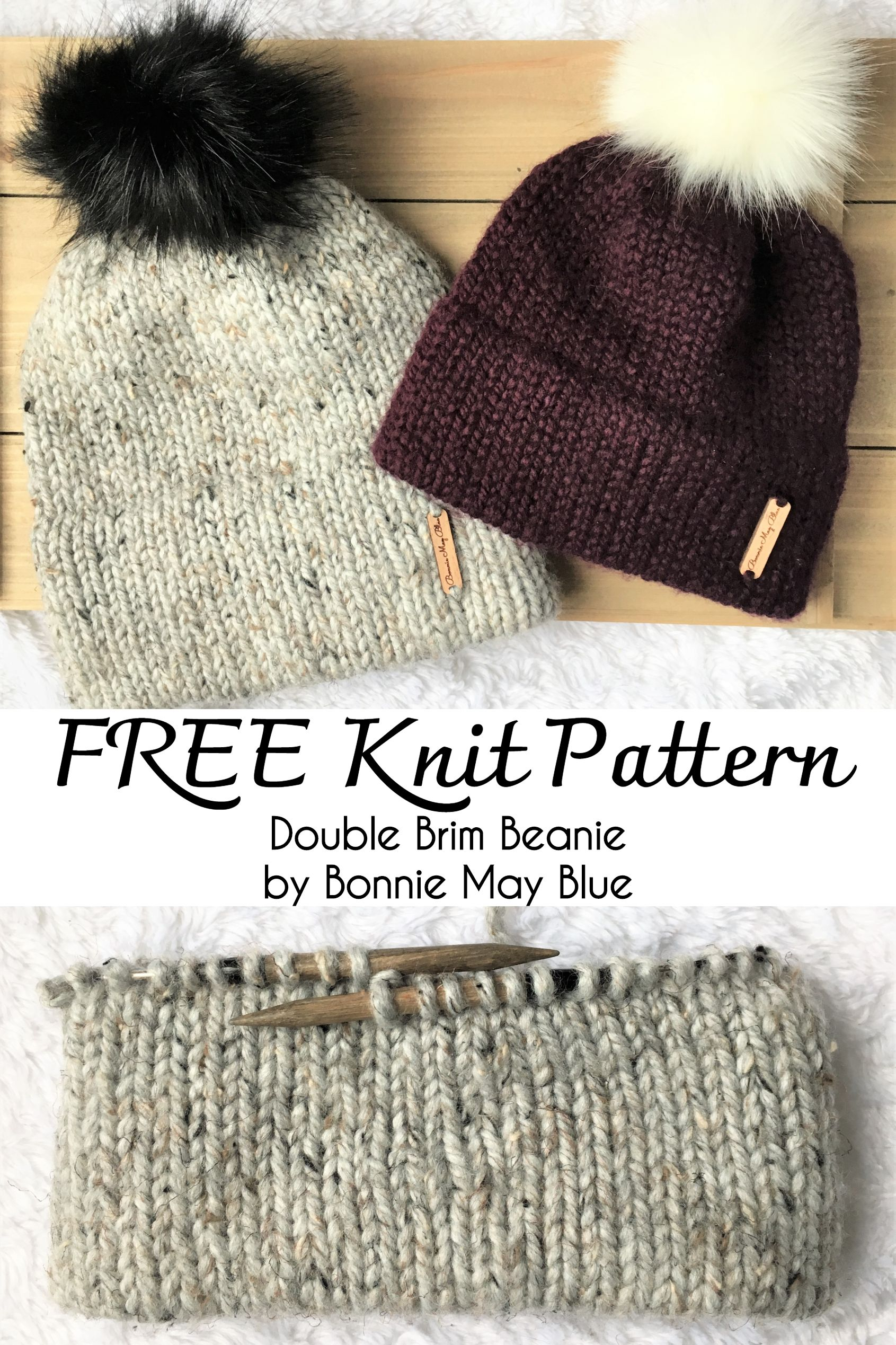 Free Knitting Pattern For The Classic Double Brim Beanie Made With A Provisiona Knit Beanie Pattern Knitting Patterns Free Sweater Knitting Patterns Free Hats