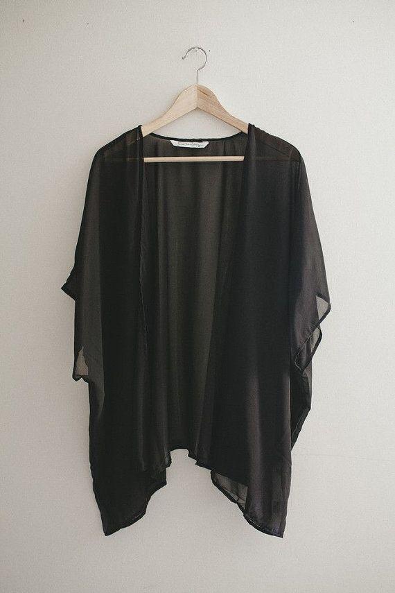 Plus sized Black Cardigan Top Boho Hippie Black Two Ways Cardigan Japanese Vintage Blouse
