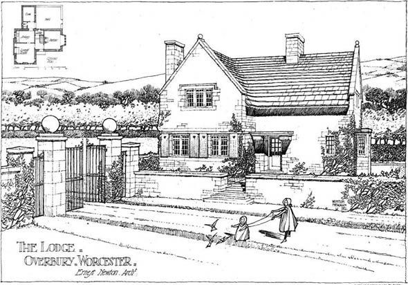 Architect Ernest Newton Perspective View Including Ground Plans Published In Modern Cottage Architecture