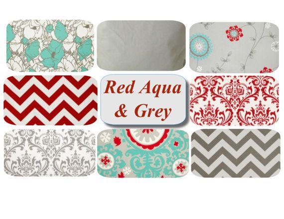 mix u0026 match throw pillow covers set of two red aqua grey pillows