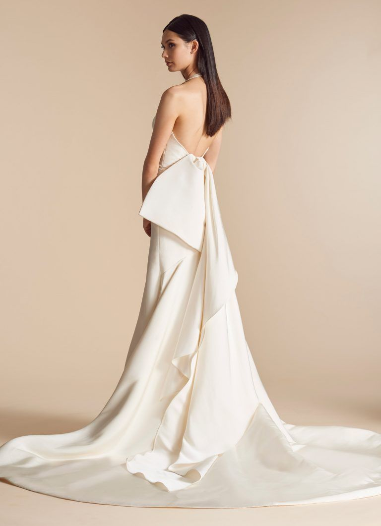 Wedding dress with bow on back  Silk Fit And Flare Wedding Dress With Halter And Detachable Bow Back