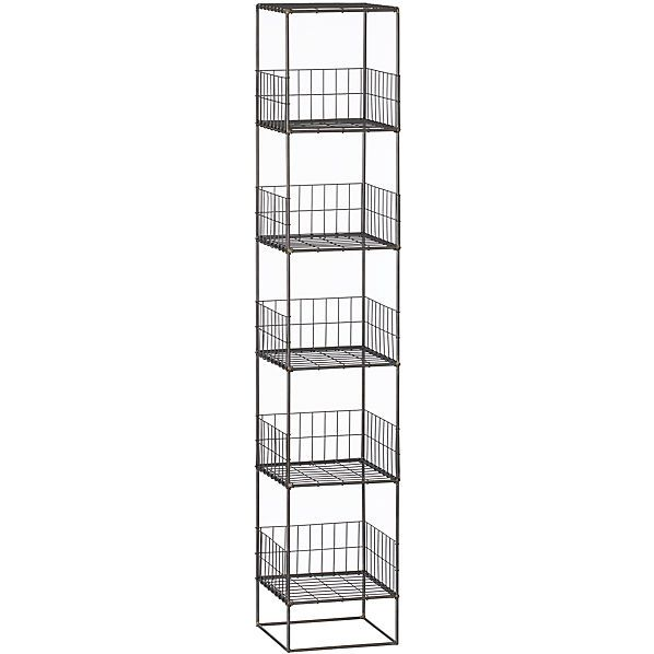 Grid Storage Tower High Wire Open Wire Shelves Rise Single File Six High On Handcrafted Iron