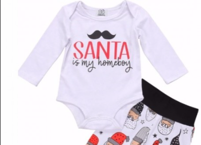 Santa Is My Homeboy Outfit Outfits, Long sleeve onesie