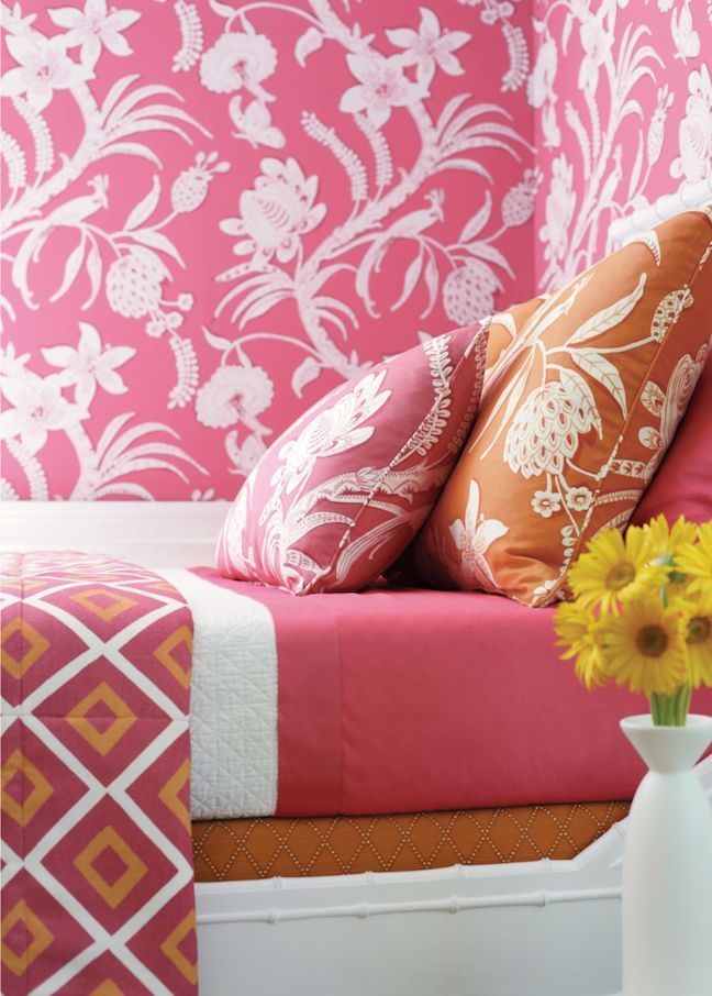 Pink and white botanical wallpaper and bedding is modernized with ...