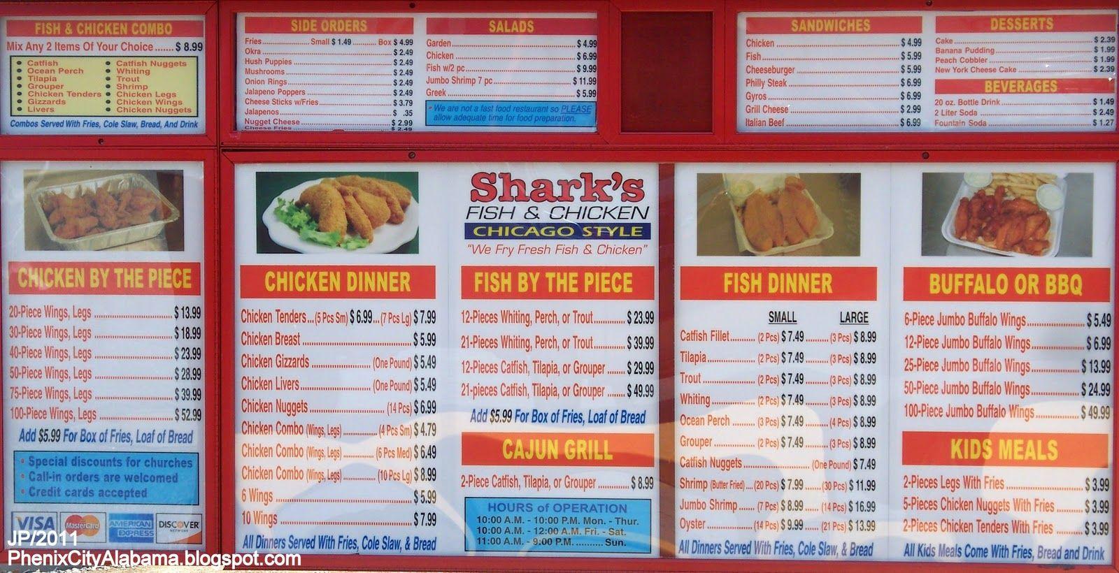 Fast food restaurant menu menu shark 39 s fried fish for Sharks fish chicken chicago il