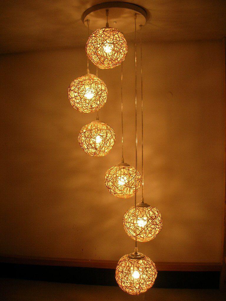 Cool Handmade Natural Rattan Woven Six Balls Pendant Lights Living Room Chandelier Lamp Bedroom