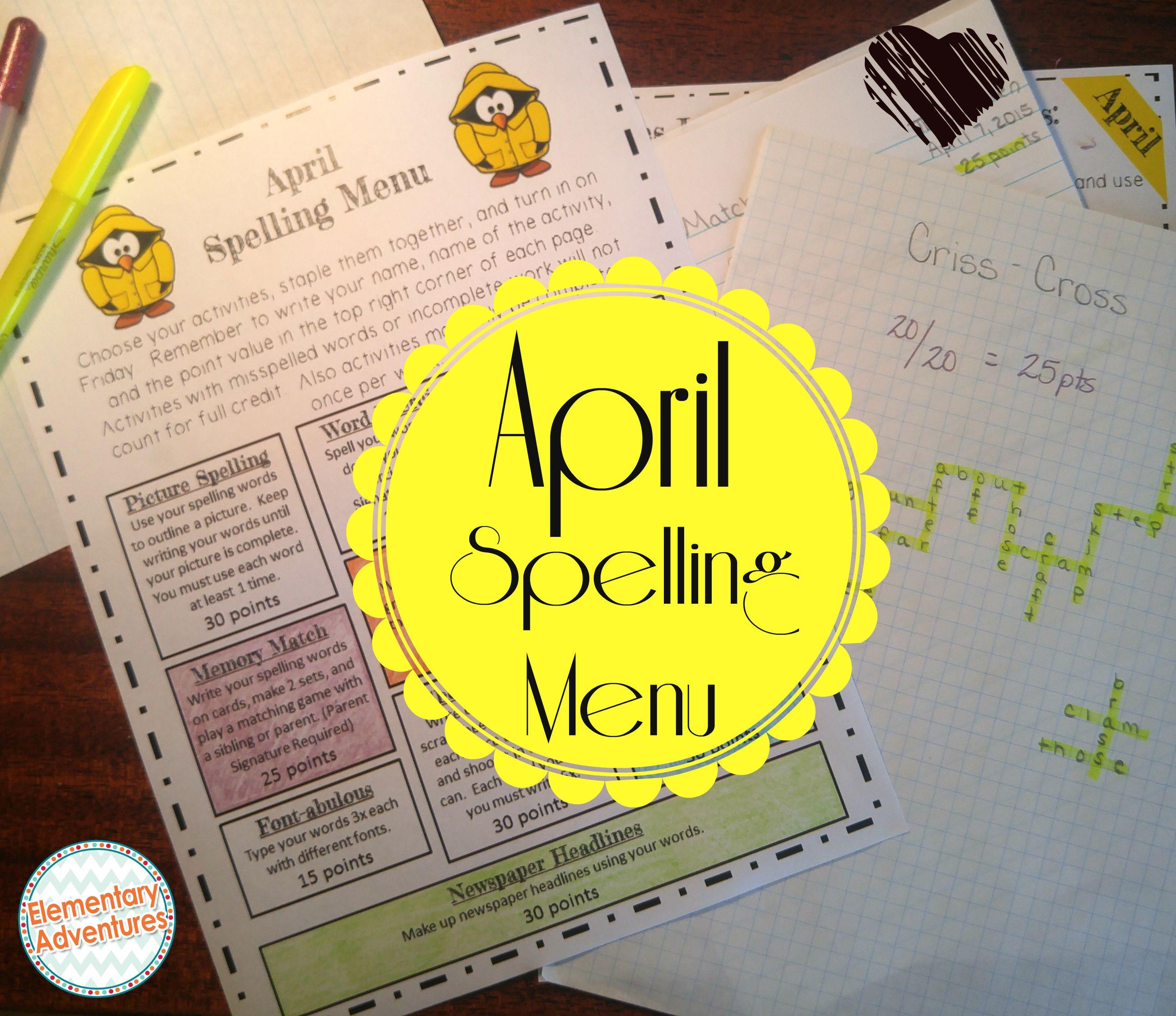 April Spelling Activities
