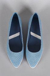Denim Stars Print Slip On Loafer Flat