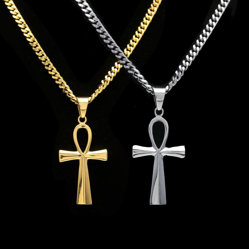 Mens hip hop necklace k gold plated ankh cross iced out pendant