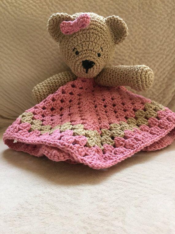Crochet Bear Lovey Bear Lovey Security Blanket Newborn