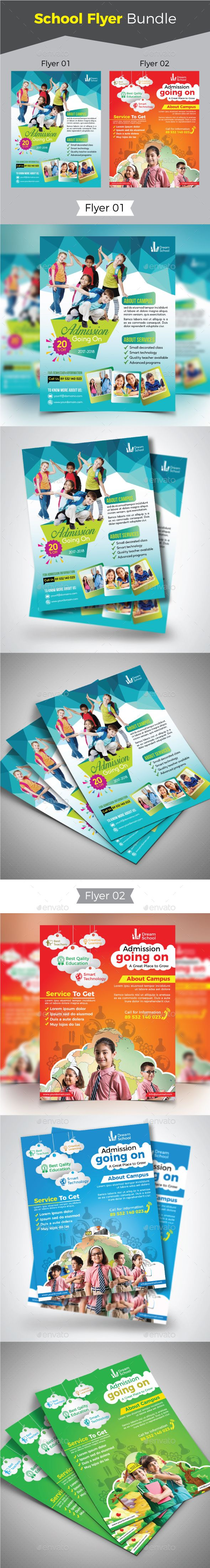 School Flyer Template Bundle Vector Eps Ai Illustrator Flyer