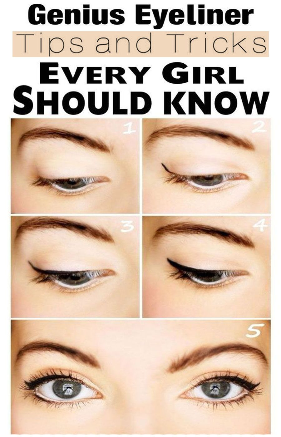 12 Genius Eyeliner tricks  Eyeliner for beginners, Eye liner